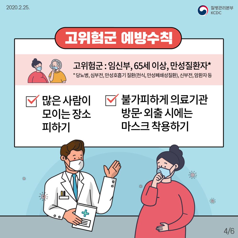 2020.2.25, 질병관리본부 / 고위험군 예방수칙(고위험군:임신부,65세 이상, 만성질환자(당뇨병,신부전,만성호흡기 질환(천식,만성폐쇄성질환),신부전,암환자 등) 많은 사람이 모이는 장소 피하기, 불가피하게 의료기관 방문·외출 시에는 마스크 착용하기